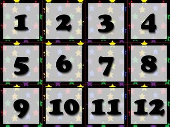 Calendar Number Cards - Numbers 1-31 - Superstars Theme -