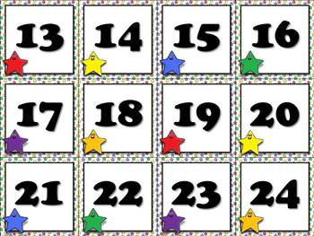 Calendar Number Cards - Numbers 1-31 - Superstars Theme - Starmen