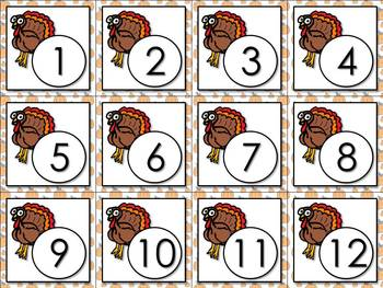 Calendar Number Cards Numbers 1-31 Turkey Fall Festival Thanksgiving November