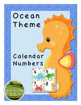 Calendar Number Cards Ocean Theme