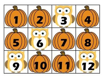 Calendar Number Cards - October
