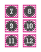 Calendar Number Cards - Pink Chevron
