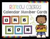Calendar Number Cards- Rainbow Colored
