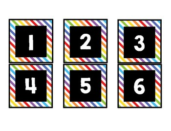 Calendar Number Cards- Rainbow and Black
