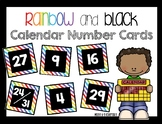 Calendar Number Cards- Rainbow and Black