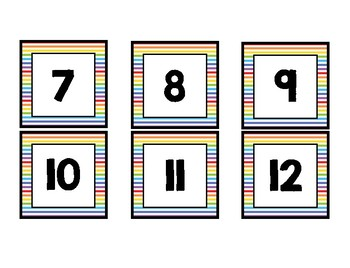 Calendar Number Cards- Rainbow and White