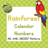 Calendar Number Cards Rainforest Animals Theme