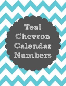 Calendar Number Cards - Teal Chevron