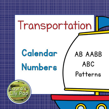Calendar Number Cards Transportation Theme