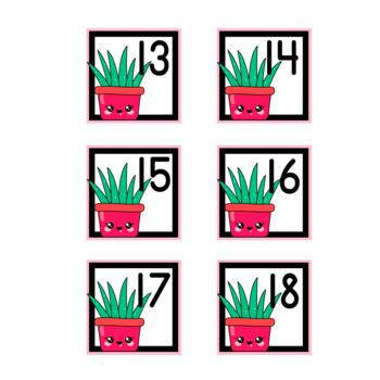 Calendar Number Cards, Kawaii Cactus, 5 Sets
