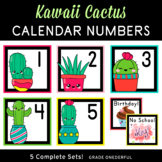 Calendar Number Cards, Kawaii Cactus, 5 Sets