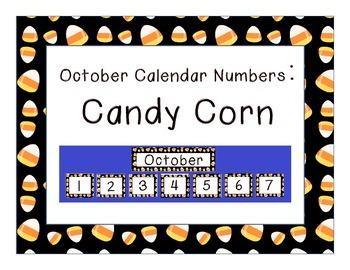 Calendar Number Inserts { October candy corn border }