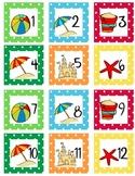 Calendar Number  Squares - Beach Theme