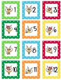 Calendar Number  Squares - Bee Theme