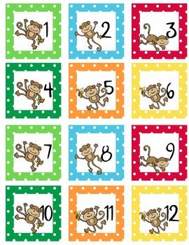 Calendar Number Squares Monkey Theme