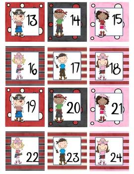 Calendar Number  Squares - Pirate Kids Theme