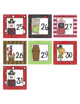 Calendar Number  Squares - Pirate Theme