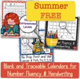 Calendar Number Writing for Summer School 2019