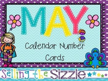 Calendar Number cards- May
