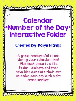 "Calendar ""Number of the Day"" Interactive Folder"