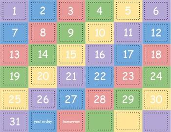 Calendar Numbers 1-31 Pastel Colors