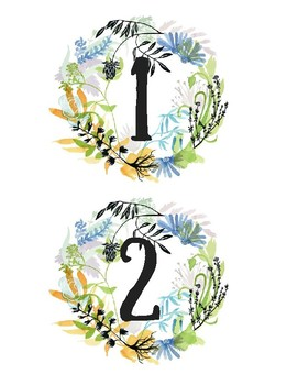 Calendar Numbers (2 sizes) Floral Print