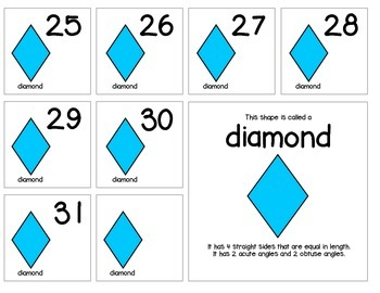 "Calendar Numbers (2.5"" x 2.5"") :: Featuring the DIAMOND shape"