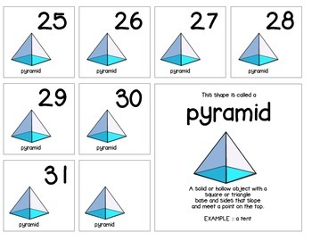 "Calendar Numbers (2.5"" x 2.5"") :: Featuring the PYRAMID shape"
