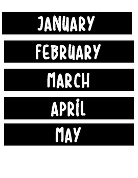 Black and White Calendar Months and Numbers