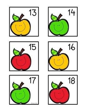 Calendar Numbers: Apples (Editable)