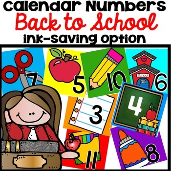 Calendar Numbers Back to School August September