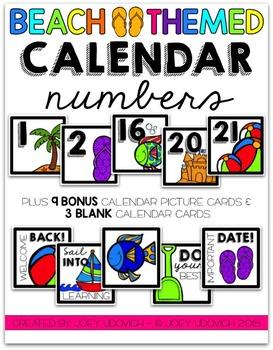 Calendar Numbers - Beach Theme