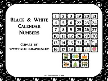 Calendar Numbers--Black & White