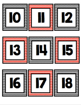 Calendar Numbers (Black and Red Chevron)