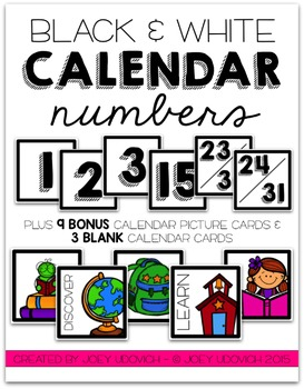 Calendar Numbers - Black and White