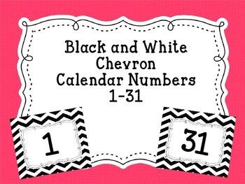 Calendar Numbers Black and White Chevron
