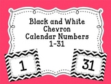 Calendar Numbers Black and White Chevron