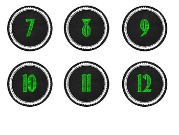 Calendar Numbers -- Bright Green Chalkboard Style