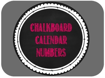 Calendar Numbers -- Bright Pink Chalkboard Style