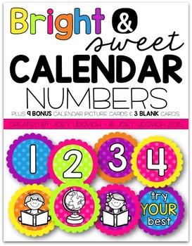 Calendar Numbers - Bright & Sweet Theme