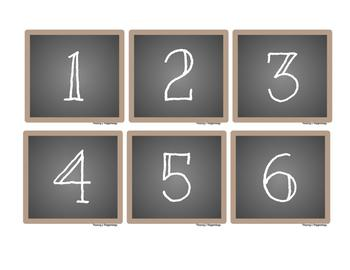 Calendar Numbers Burlap and Chalkboard