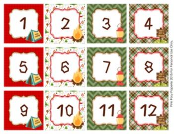 Calendar Numbers Camping Theme