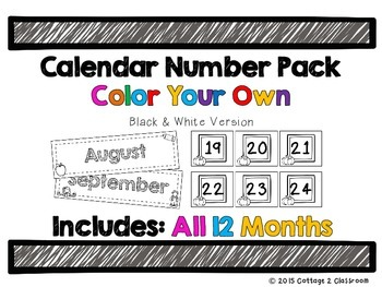 Calendar Numbers: Color Your Own