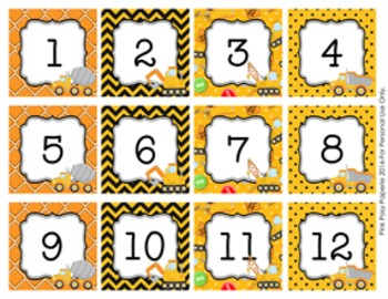 Calendar Numbers Construction Truck Theme