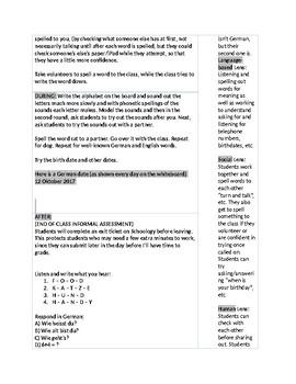 Calendar, Numbers, Days of Week, Spelling, Lesson Plan for German 1