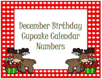 Calendar Numbers~ December Birthday Cupcake