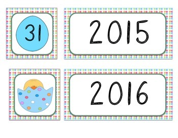 Calendar Numbers - Easter Theme
