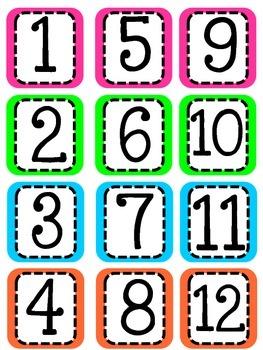 Calendar Numbers- FREEBIE