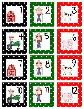 Calendar Numbers Farm Themed