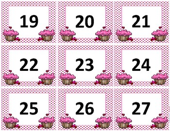 Calendar Numbers~ February Birthday Cupcake